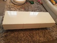 TV Stand White High Gloss With 3 Drawers
