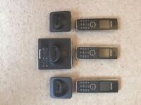 3 Panasonic Cordless Phones with Digital Answering Machine