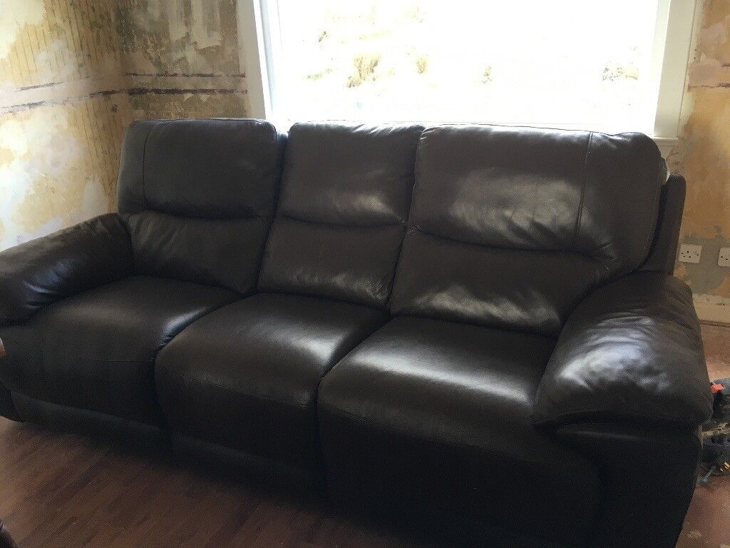 Leather 3 Seater Reclining Sofa in Brown