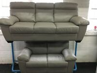 ScS New/Ex Display Leather 3 Seater + 2 Seater Sofas