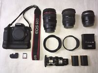 Canon 60D with 3 lenses plus extras