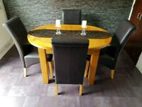 Dining Table Extendable with 4 Chairs