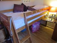 High Sleeper single sturdy pine bed with desk