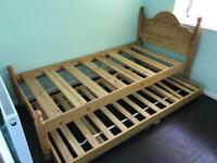 SOLID OAK WOODEN BED WITH GUEST TRUNDLE