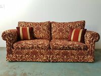 LUXURY DURESTA FABRIC SOFA / SETTEE / SUITE WITH CUSHIONS ON CASTORS DELIVERY AVAILABLE