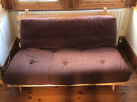 Brown double futon with pine wooden base - very good condition