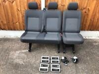 Vw T5 T6 Transporter Kombi Seats 2+1 in Tasamo Trim with Brackets & Belts