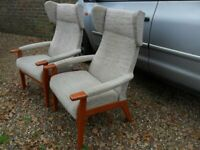 Vintage Retro Pair of Genuine Parker Knoll Wing Chairs-Furniture-Collect