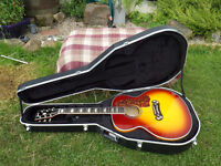 £325 ovno Chibson Gibson copy J200 J-200 SJ200 VS semi acoustic guitar + Hard Shell Case with keys.