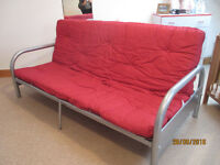 Red Futon Sofa Bed with mattress.