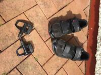 Shimano SPD DL road bike pedals & Shimano size 10 road bike shoes (& clips). Only used 3 times. £30.