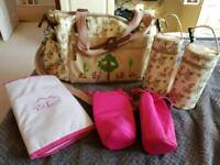 Yummy Mummy Pink Lining Twins Change Bag with Bottle Holders
