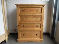 LARGE STRIPPED PINE FOUR DRAWER CHEST OF DRAWERS No 2 FREE DELIVERY