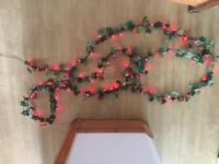 Ivy garland with red berry LED lights