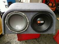 """2 12"""" Subs, 1 being a JBL 1000 watt built in amp. Excellent working order"""