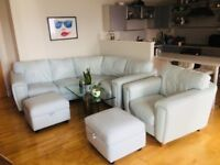 Pastel Blue Corner Sofa Suite, Armchair + Footstools (with storage)