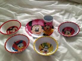 Disney plate, beaker & 4 bowls