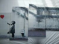 Banksy four part canvas, Girl with Red Balloon wall art