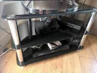 Black glass TV stand