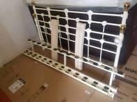 Bed - Creamish White Metal Kingsize Bed Frame