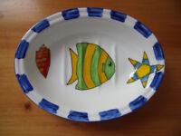 Colourful marine theme/white ceramic oval soap dish/Fletcher Prentice, Northington St Studio.£3 ovno