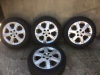 Brand new tyres on used 16 inch Vauxhall alloys.