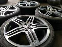 "VW AUDI 18"" ALLOY WHEELS & TYRES 5X112 GOLF PASSAT CADDY A3 A4 A6 TT GALAXY"
