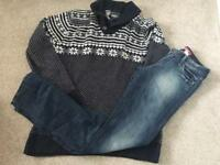 Men's jeans & winter jumper top outfit blue