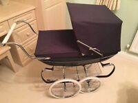 Silver Cross Dolls Pram in Navy Blue with handmade pillow and blanket. As new.
