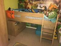 Mid sleeper bed with pull out desk