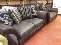 Sofa suite - 3 seater & 2 seater - new - grey fabric - cushions included! Shannon!