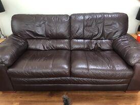 Dark brown leather 2 piece suite, good conditon £250