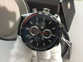 New Swiss Tag Heuer Carrera Calibre 16 Chronograph Watch, LEATHER STRAP
