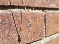 Aquamarine and Diamond Silver Necklace