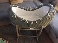 Grey wicker Moses basket and rocking stand