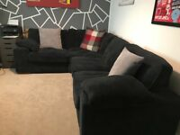 Corner Sofa in charcoal cord with storage footstool - excellent condition
