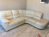 Cream leather corner and two seater