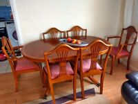 Solid Antique Wood Dining Table With Six Chairs