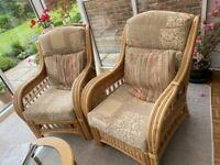 Conservatory wicker sofa and chairs