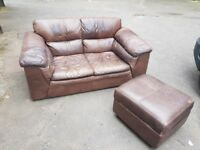 Brown leather sofa and footstool. FREE delivery in Derby