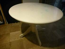 Round dining table, IKEA, needs attention