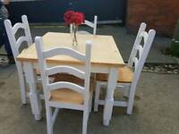 Ex display square pine table and chair set