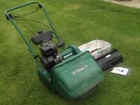 QUALCAST CLASSIC 35 S PETROL LAWN MOWER COMPLETE & QUICK EXCHANGE SCARIFIER GOOD ITEM EASY START
