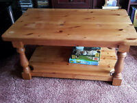 Pine Coffee Table with useful shelf underneath