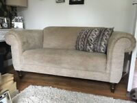 DFS Large Fabric Snuggle Sofa Chair / Small 2 seater Oatmeal Natural Colour