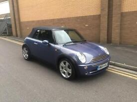 2004 Blue Bmw Mini convertible/cabriolet 1.6 petrol, black leather, Xenons, 12 months mot FSH