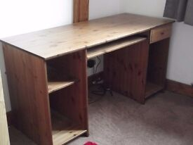 Study desk, suitable for home PC, with storage drawer, shelf and pull out shelf for keyboard.
