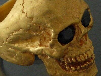 SALE!!! 18 k Gold Skull Black Diamonds handmade skull ring 50 grams Diamonds