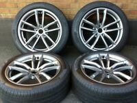 """18"""" GENUINE BMW 5 SERIES (17-21) G30 G31 M SPORT 662M STAGGERED ALLOYS PIRELLI P7 TYRES IMMACULATE"""