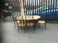 Oak wood & black metal dining room table and 6 chairs £69